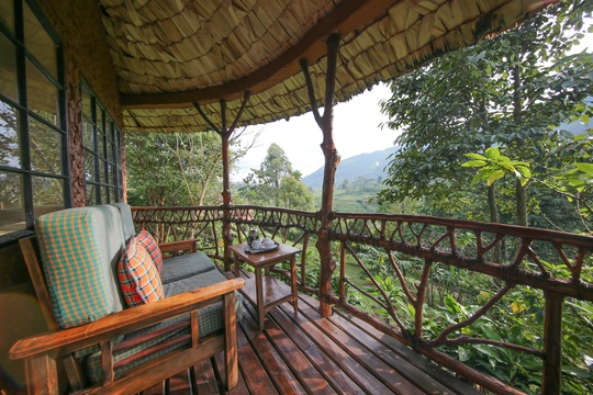 Balcony on a private room at Mahogany Springs, your base for exploring Bwindi Impenetrable National Park.