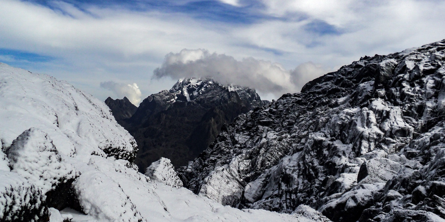 The snow-capped mountains of Margherita Peak in the Rwenzori Mountains Uganda
