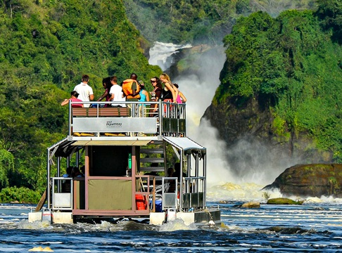 Water safari to the base of Murchison Falls, Uganda