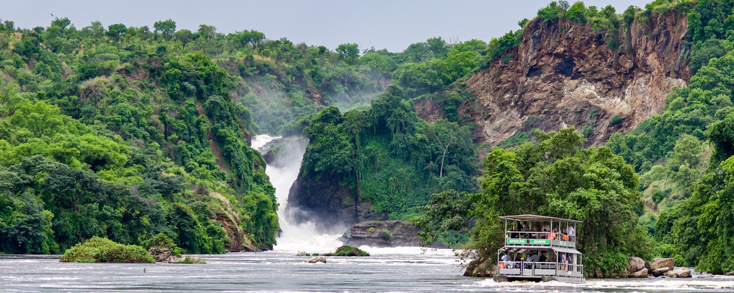 Water safari on the river Nile to the base of Murchison Falls waterfall, Murchison Falls National Park
